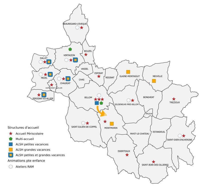 Carte des structures d'accueil enfance jeunesse sur Billom Communauté